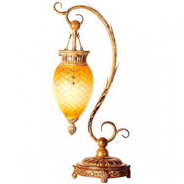 STUNNING ANTIQUE STYLE SERPENTINE ACRYLIC PENDANT AMBER TABLE LAMP,35''TALL.