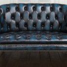 RESTORATION HARDWARE BURGHLEY/CHESTERFIELD ANTIQUE BLUE HIGH  GRADE LEATHER SOFA