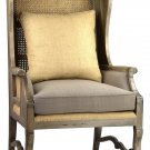 STUNNING LARGE LINEN/CANE MARIA ARM CHAIR,33'' X 33'' X 51''TALL.