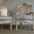 STUNNING FRENCH PAIR OF VINTAGE GUILT BERGERE CHAIRS, 30'W X 29''D X,41''H.