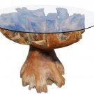 MAGNIFICENT ELEGANT RUSTIC TEAK ROOT/GLASS ROUND DINING TABLE,43''DIAM X 31''H.