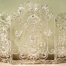 BEAUTIFUL ANTIQUE STYLE ORNATE IRON/TOLE FLORAL  FIREPLACE SCREEN,46''WIDE.