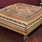 GORGEOUS  LARGE MULTI COLOR KILIM WOOL BENCH/OTTOMAN,38''DIAMETER' X 16''TALL.