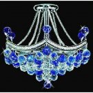 MAGNIFICENT PETITE  FINE CRYSTAL AZURE/CLEAR CHANDELIER, 17''DIAMETER X 20''H.