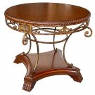 GORGEOUS ELEGANT IRON/WOOD CENTER TABLE,28''DIA X 29''TALL.