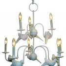 STUNNING WHITE IRON/TOLE CARVED DOVES CHANDELIER.31''DIAMETER X 29''TALL.
