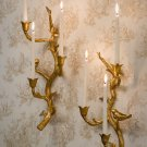 GORGEOUS PAIR OF GOLD LEAF IRON BIRDS BRANCH SCONCES,24''TALL.