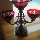 STUNNING  ANTIQUE SILVER FINISH RUBY RED LARGE  EPERGNE/COMPOTE,16'' X 16''TALL.