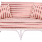 STUNNING VINTAGE WHITE BAMBOO STRIPED SETTEE,50'' X 35'' X 28''H.