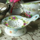 ADORABLE CHIC SHABBY FLOWERS MOTIF PORCELAIN TEA STRAINER,GIFT BOX INCLUDED!
