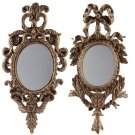 ANTIQUE STYLE FABULOUS SET OF TWO BAROQUE GOLD GILT MIRRORS,13'' X 1'' X 26''H.