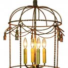 AWESOME ANTIQUE GOLD FINISH TWISTED BIRD CAGE CHANDELIER,17''DIAMETER X 25''H/