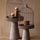 ADORABLE WIRE BIRD CAGES ON PEDESTAL ,SET OF TWO! 26''H AND 32''H.
