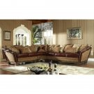 GORGEOUS EUROPEAN DESIGN GOLD LANGDON LEATHER&FABRIC SECTIONAL SOFA/COUCH,1 LEFT