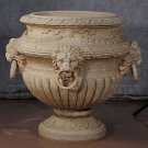 EXQUISITE LION MOTIF FLOWER POT/ GARDEN URN,31''DIAMETER X 27''TALL