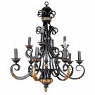 AWESOME BLACK & GOLDEN  IRON ACANTHUS CHANDELIER, 33.5''''DIAMETER X 41.5''H.