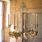 AMAZING OLD STYLE CANDLES IRON W/CRYSTALS CHANDELIER,28''DIAM X 39''TALL.