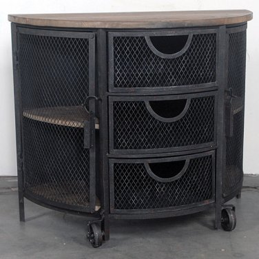 AWESOME INDUSTRIAL MERCANTILE  WOOD/IRON  CREDENZA/CABINET,37.5''L X 31'TALL.