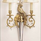 BEAUTIFUL SOLID BRASS AND CRYSTALS 2 LIGHT PEACOCK MOTIF  WALL/SCONCE