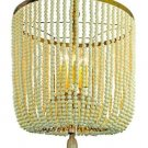 AWESOME GOLD IRON CREAM BEADS, WOOD TASSEL ACCENT CHANDELIER,25''TALL.