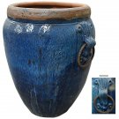 BEAUTIFUL LARGE BLUE CERAMIC VASE/PLANTER,31''DIAMETER X 48''TALL.