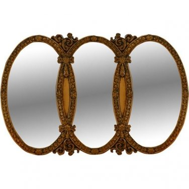 ANTIQUE  STYLE TRIPLE OVAL GILT  LARGE MIRROR,52'W' X 1.5''D X  31.5''TALL.