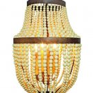 AWESOME GOLD IRON CREAM WOODEN BEADS,4 LIGHT CHANDELIER,20''TALL.
