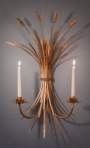 BEAUTIFUL PAIR OF ANTIQUE GOLD IRON WHEAT MOTIF WALL/SCONCE, 20''L X 25''TALL.