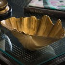 FABULOUS LARGE ANTIQUE GOLD CLAM FAUX SHELL,13.5''W x 9''D x 5.5''TALL.