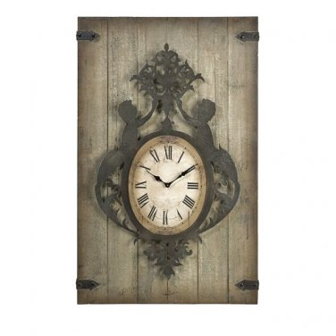GORGEOUS ANTIQUE STYLE GOTHIC WOOD& IRON WALL CLOCK DECOR,47.5''TALL.