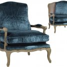 ELEGANT BLUE BERGERE CANE BACK ACCENT  CHAIR,29''W X 29''D X 38''H.