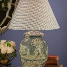 BEAUTIFUL PORCELAIN BLUE OR YELLOW TABLE LAMP WITH FABRIC SHADE,30''TALL.