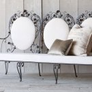 GORGEOUS CHIC SHABBY VINTAGE GARDEN ROSES&LEAVES IRON SETTEE,68'' X 27''X 39''H.