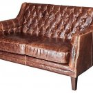 AWESOME LONDON ANTIQUED SADDLE LEATHER SETTEE/LOVE SEAT,54''W.