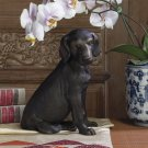 AWESOME BRONZE IRON LAB PUPPY DOG FIGURINE,7''X 9''TALL.