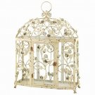 AWESOME CHIC SHABBY FLOWERS DISTRESSED WHITE BIRD CAGE,NICE!17'' X 23''H.