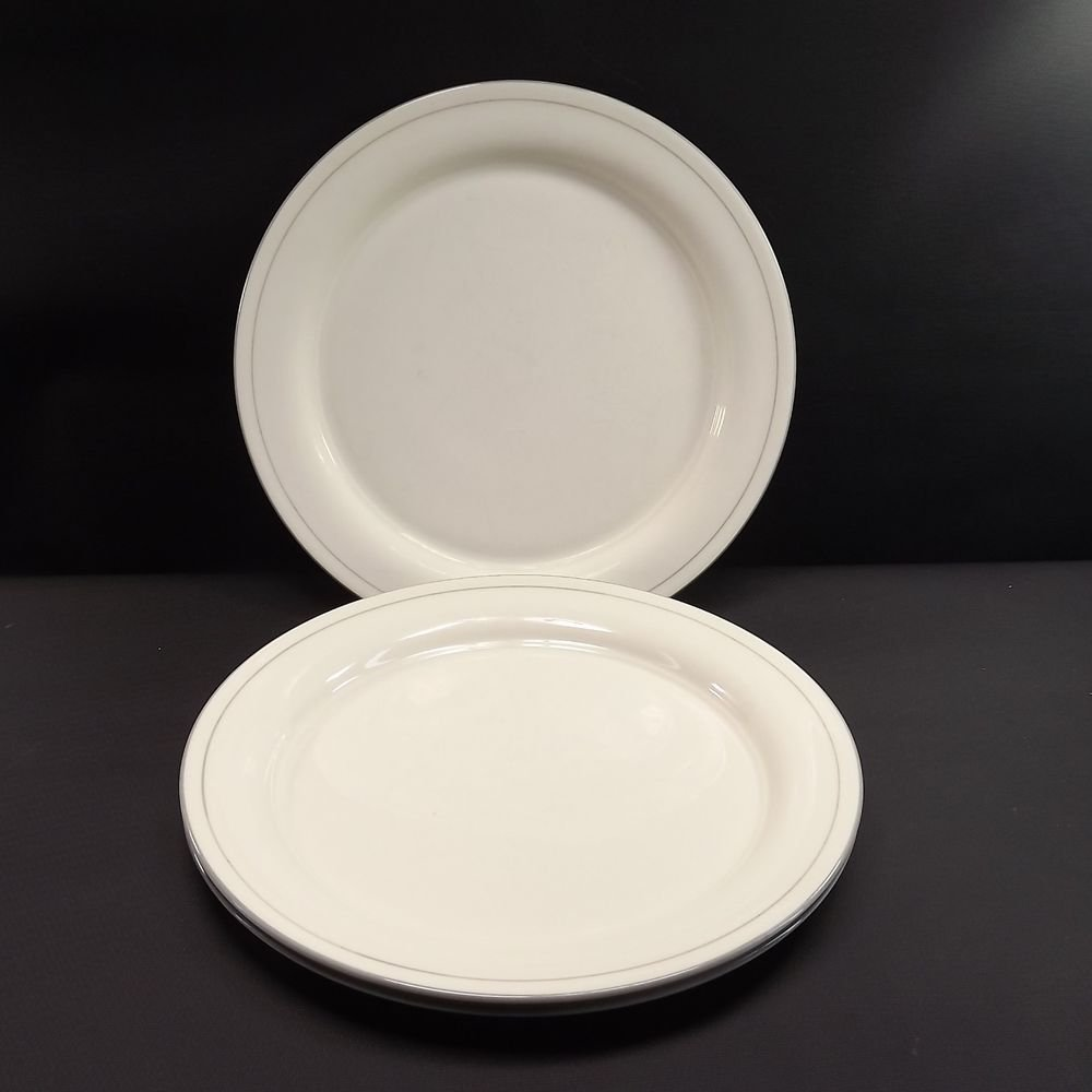 "2 Lenox 11"" Dinner Plates Grey Pinstripes 1985-1997, Gray Trim with Verge"