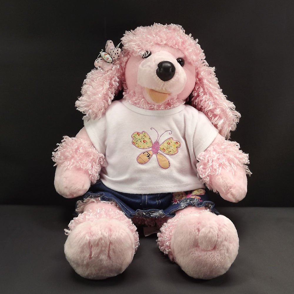 Build-A-Bear Pink Poodle 21Inch Plush Jean Skirt Tee Shirt Butterfly Bow Outfit
