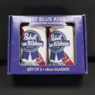 Pabst Blue Ribbon PBR Set 2 New Glasses Lead Free Dishwasher Safe