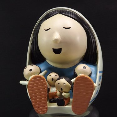Tribal Storyteller  Ceramic Doll  Figurine 4 Children Blanket South Western