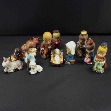 Vintage Nativity Set of 12 Figurines Children Hand Painted Ceramic