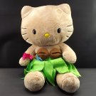 "Hello Kitty Plush 18""Saniro Beige Hawaiian Dressed Stuffed Doll Anime Hula Aloha"