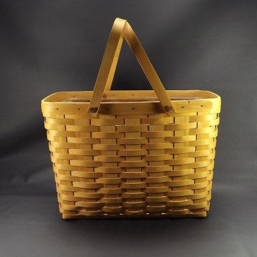 Longaberger Magazine Basket With Plastic Protector 15.5 x 9 x 11 Double Handles