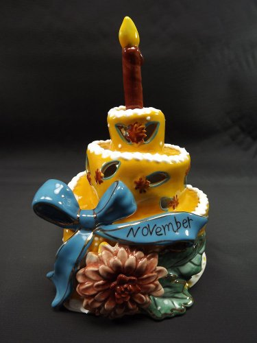 Blue Sky Clayworks November Ceramic Birthday Cake Tea Light Candle Holder