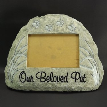 Pet Memorial Garden Stone Insert  Photo Our Beloved Pet Rock Dogs Cats