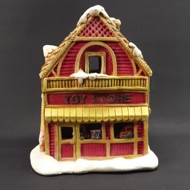 Vintage Christmas Village Red Toy Story Hand Painted Detail Ceramic
