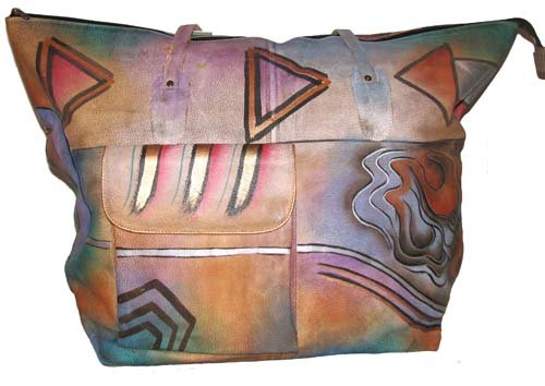 AN393 - Italian Hand-Painted Leather Handbag