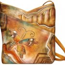 AN354A - Italian Hand-Painted Leather Handbag