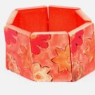 Wood Rectangular Bracelet w Red Painted Flowers