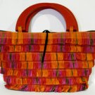 Multi Colored Handmade Paper Woven Purse w Red Wood Handles